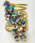 Anello dorato a spirale con simil Swarovski multicolor