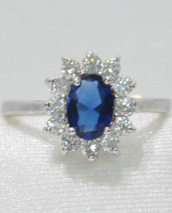 abbastanza Anello in acciaio con pietra blu e strass   PinoWebShop YX13