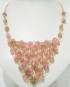 Collana dorata con pietre Agata rosa sfumata verde