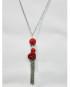 Collana argento con sfera strass rossa e rosellina