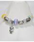 Bracciale tipo Pandora con charms colorati e pendaglio gufetto