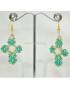 Orecchini forma Crocefisso con Perle e simil Swarovski verdi