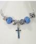 Bracciale tipo Pandora con charms colorati con Croce